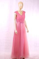 杏粉色长款晚礼服