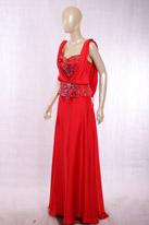 大红色长款晚礼服
