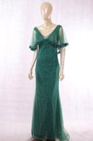 墨绿色披肩长款晚礼服