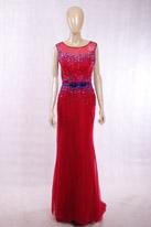 酒红蓝丝绒礼服