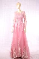 杏粉色长袖拖尾礼服