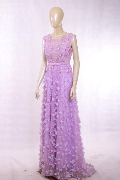 紫色碎花晚礼服